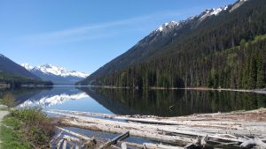 Snow capped mountains with Duffey Lake