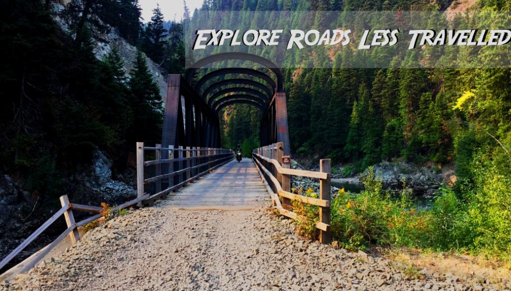 motorcycle riding bridge on Kettle Valley Railway
