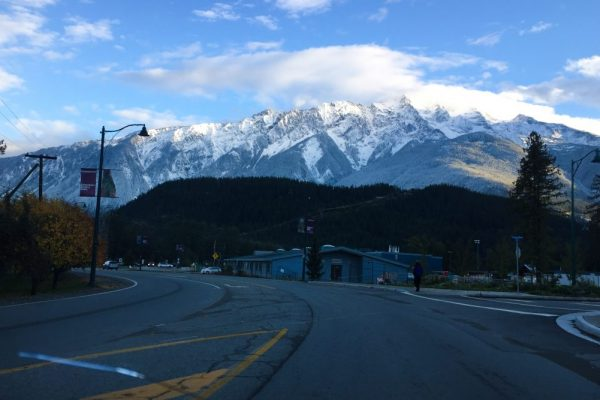 A view of Mount Currie in Pemberton from the main street during our backyard adventures motorcycle tour