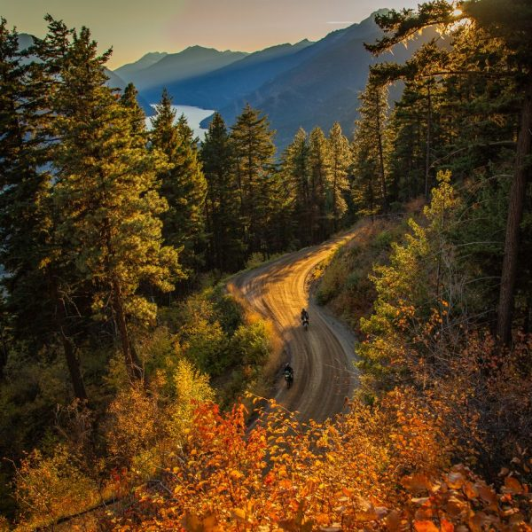 Autumn motorcycle riding through British Columbia