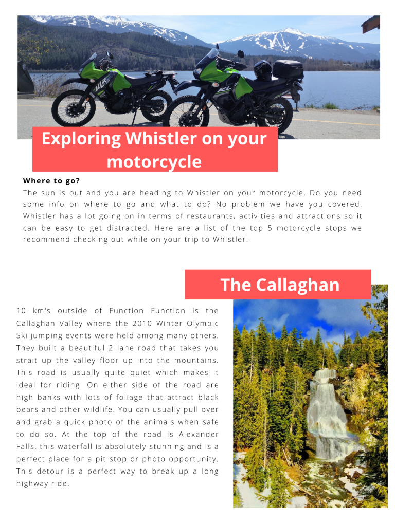 Top 5 motorcycle stops in whistler
