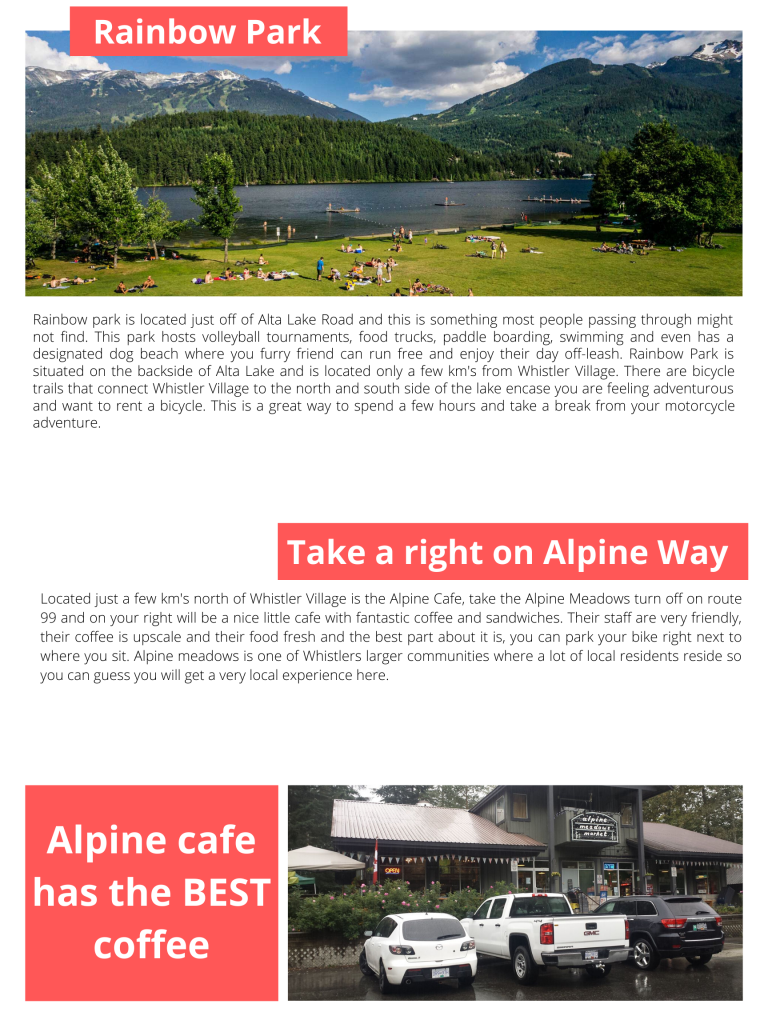 Top 5 motorcycle stops in Whistler Rainbow park and Alpine Cafe