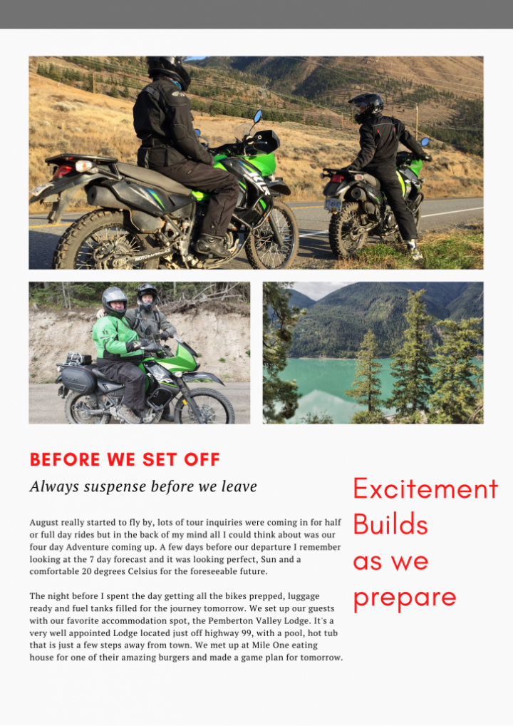 A written motorcycle article about canada tour