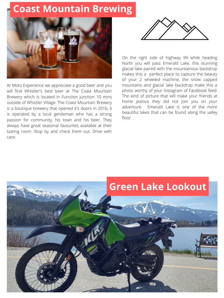 Top 5 motorcycle stops in whistler at Green Lake and Coast Mountain Brewing