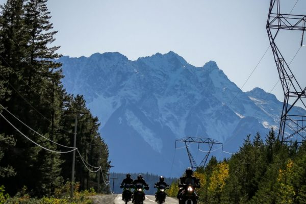 Riding motorcycles just outside Pemberton